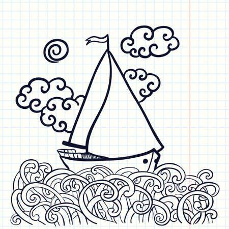 sailfish: Hand-drawn doodle illustration with sailfish on the waves