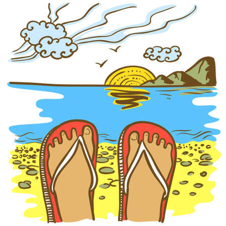 flip flop: Hand-drawn doodle illustration with flip flop on the beach