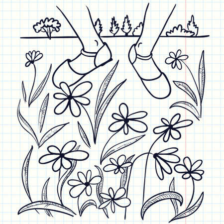 idealistic: Handdrawn doodle illustration with feet on the lawn with flowers