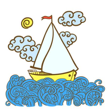 pez vela: Dibujado a mano ilustración del doodle con el pez vela en las olas