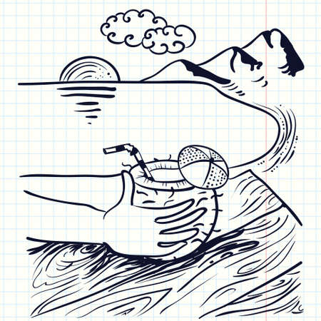 idealistic: Hand-drawn doodle illustration with coconut cocktail on the beach
