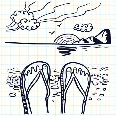 idealistic: Hand-drawn doodle illustration with flip flop on the beach