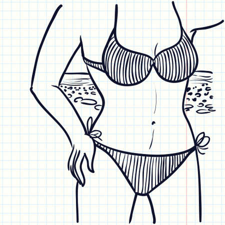 idealistic: Hand-drawn doodle illustration with girl in a bikini on the beach