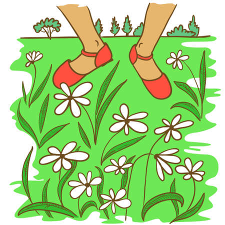 idealistic: Hand-drawn doodle illustration with feet on the lawn with flowers Illustration