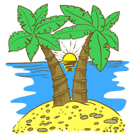 idealistic: Hand-drawn doodle illustration of island with palms