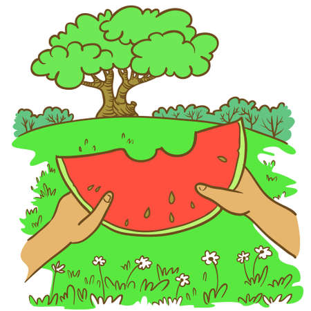 idealistic: Hand-drawn doodle illustration with summer landscape and watermelon Illustration