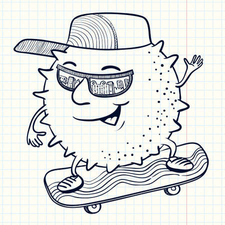 summertime: Cute doodle sun character on the skate