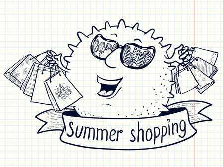 reflexion: Cute doodle sun character with shopping bags