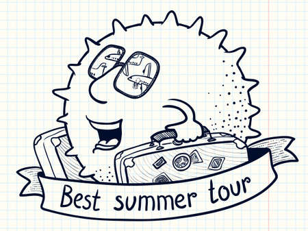 Cute doodle sun character with luggage for best summer tour Illustration