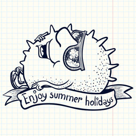 sunbathing: Cute doodle sun character sunbathing