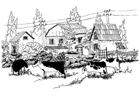 idealistic: Hand-drawn rural landscape sketch Illustration