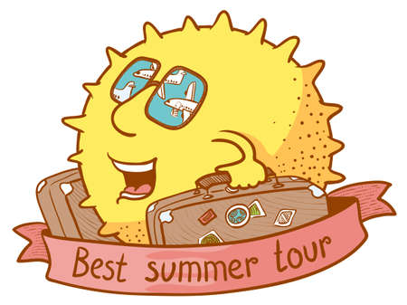 airplan: Cute doodle sun character with luggage for best summer tour Illustration