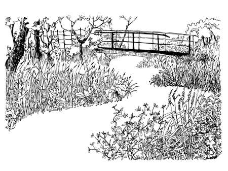 sketch drawing: Hand-drawn country landscape with river and bridge Illustration