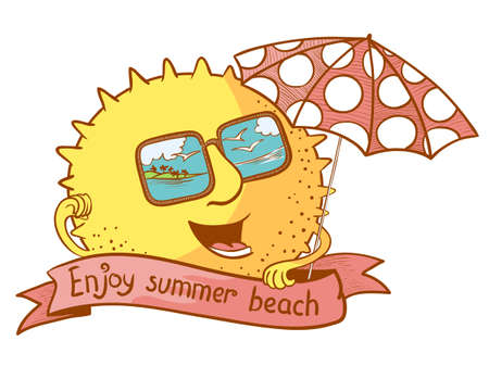 summertime: Cute doodle sun character with parasol Illustration