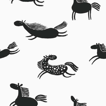 Cute doodle horses seamless pattern