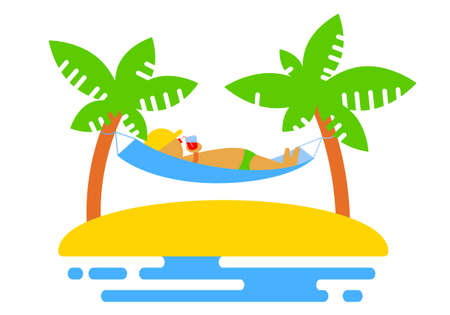hammock: Summer icon with island and palms, and hammock