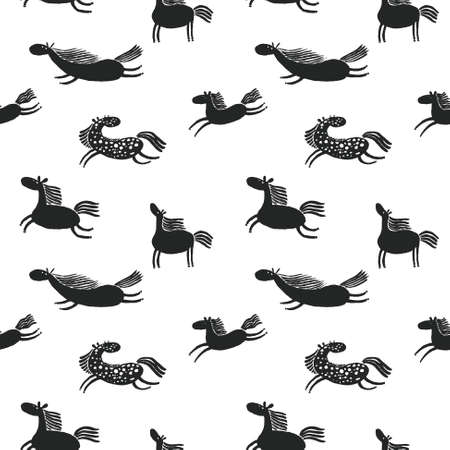 white tail: Cute doodle horses seamless pattern