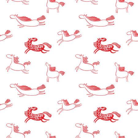 赤と白の落書き木馬シームレスな背景