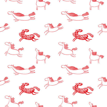 Red and white doodle horses seamless background