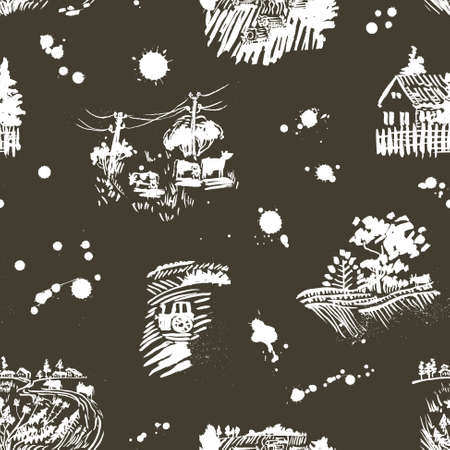 herd: Seamless pattern with summer rural lanscape
