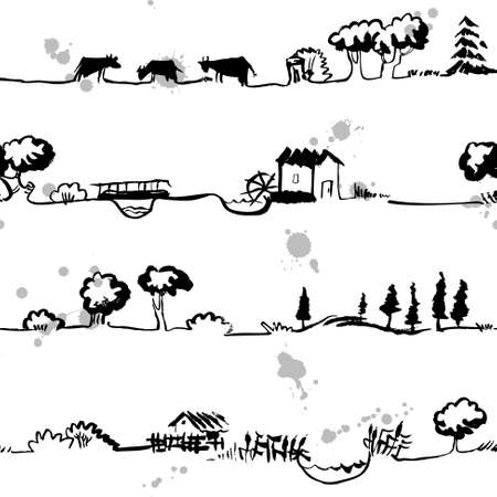 grazing: Artistic seamless pattern with rural line landscape