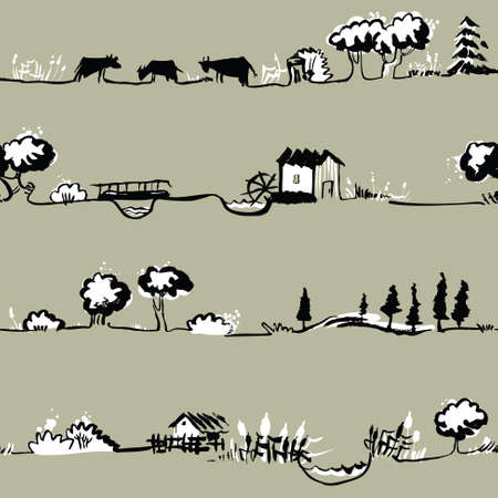 ink illustration: Artistic seamless pattern with rural line landscape