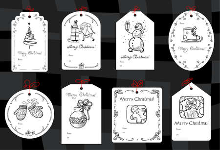 christmas gift: Christmas set with minimalistic black and white gift tags Illustration