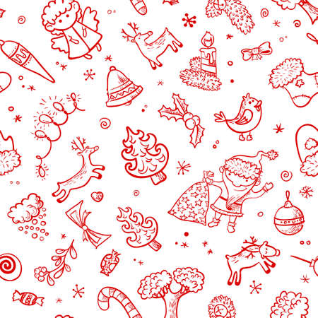 wreaths: Christmas red and white doodle seamless background Illustration
