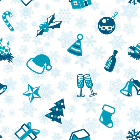 stocking cap: Christmas seamless pattern in blue and white colors Illustration