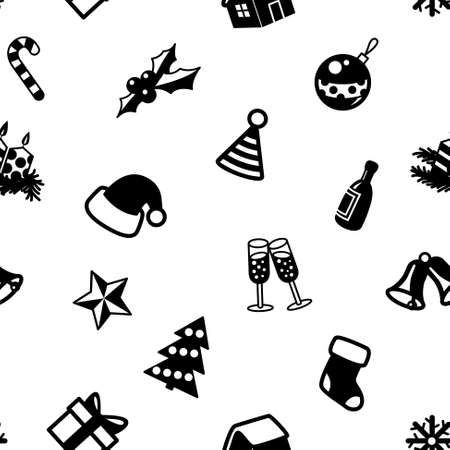 whiten: Christmas seamless pattern in black and whiten colors