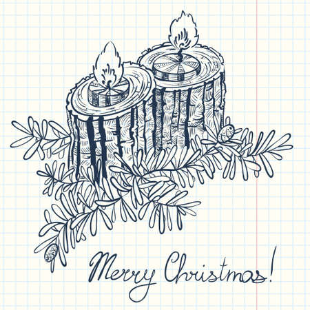 christmas candles: Christmas doodle decoration with two candles