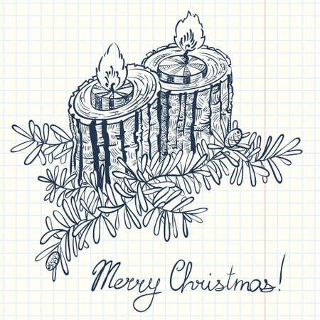 velas de navidad: decoración doodle de la Navidad con dos velas Vectores