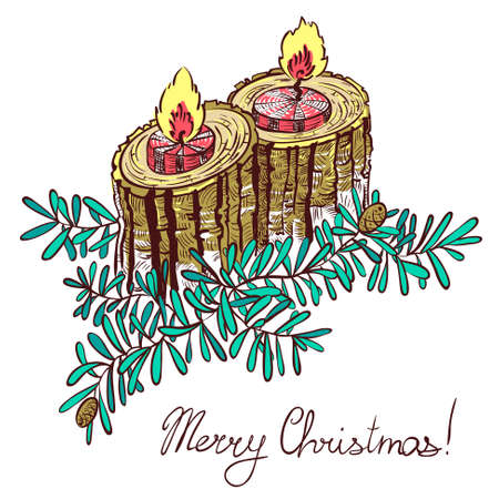 christmas candles: Christmas decoration with  candles Illustration