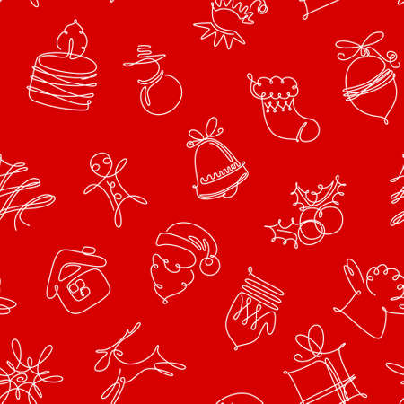 new year of trees: Minimalistic red and white Christmas seamless pattern