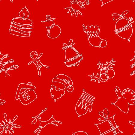 nowy rok: Minimalistyczne czerwone i białe Boże Narodzenie bez szwu