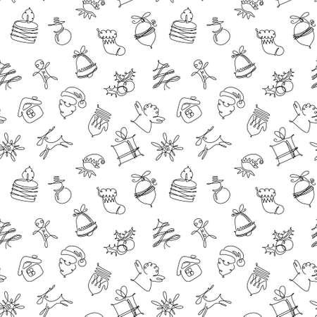 white christmas: Minimalistic black and white Christmas seamless pattern Stock Illustratie