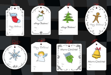 christmas tree ornaments: Christmas set with gift tags Illustration