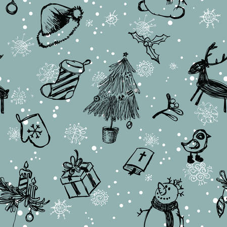 christmas seamless pattern: Cute doodle Christmas seamless pattern