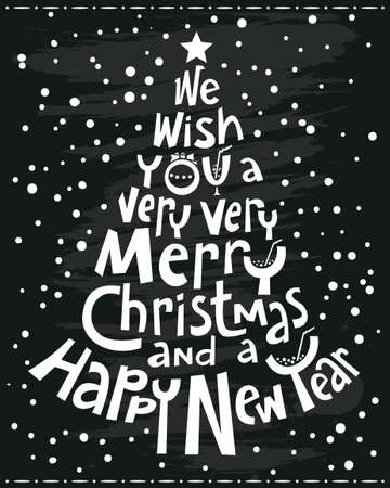 new year eve: Black poster with calligraphy silhouette of Christmas tree Illustration