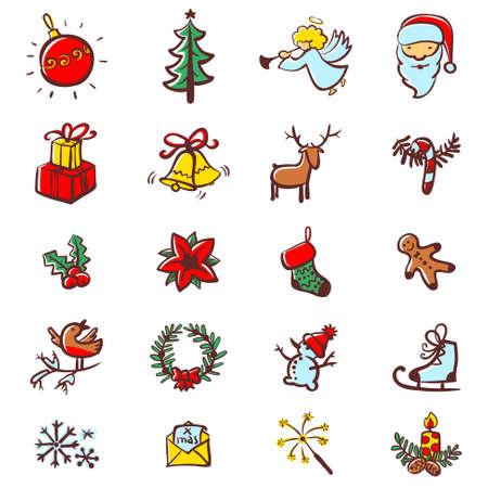 Christmas minimalistic icons set