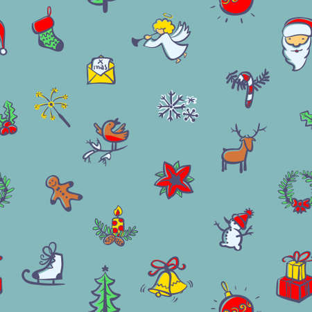 christmas cookies: Cute doodle Christmas seamless pattern