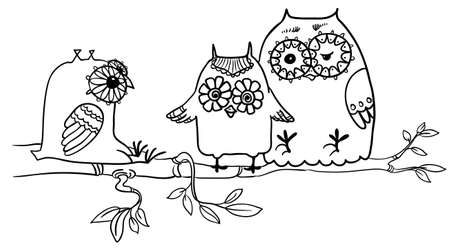 black branch: Cute doodle owls on the branch