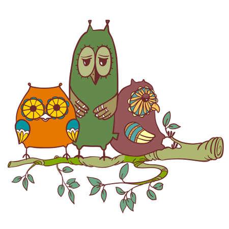 sleepy: Cute doodle sleepy owls on the branch
