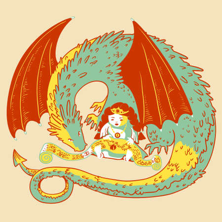 reads: Cute princess and dragon reads scroll Illustration