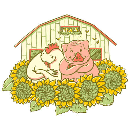 henhouse: Cute characters chicken and pig on the farm