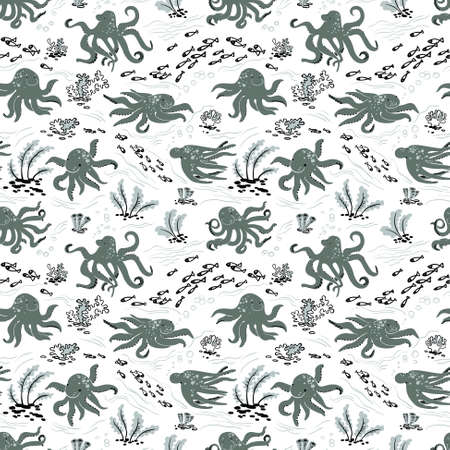 cuttlefish: Cute Octopus seamless pattern with algae and fishes