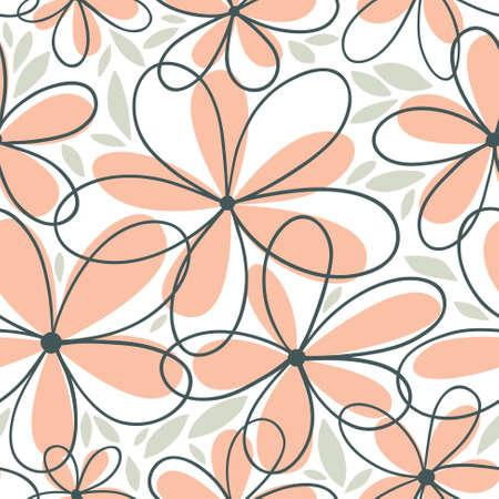 Floral minimalistic seamless pattern Illustration