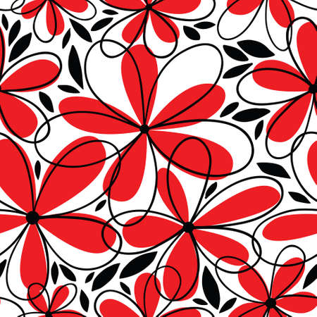 retro floral: Floral red black white doodle seamless pattern