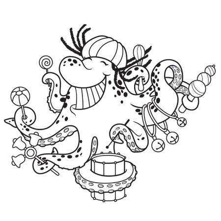 party cartoon: Cute doodle Octopus with music Illustration