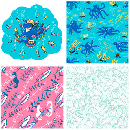 dragon swim: Underwater life set. Seamless patterns with octopus and waves